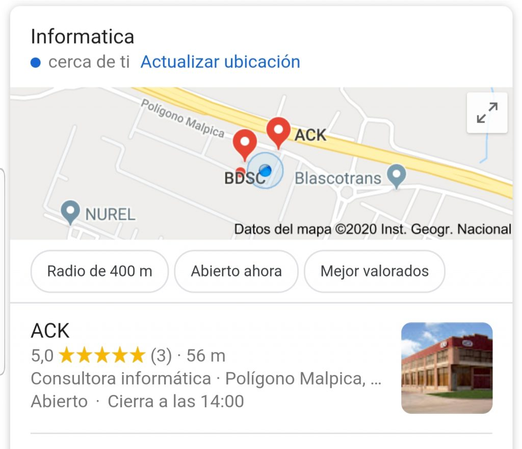 Visibilidad de tu taller gracias a Google My Business. Ejemplo Localización Ficha Empresa ACK en Google