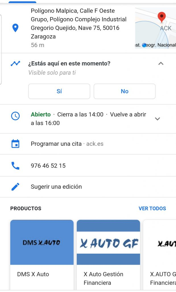 Visibilidad de tu taller gracias a Google My Business. Ejemplo de Productos en Ficha Empresa ACK en Google